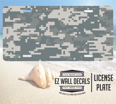 Digital Camo Aluminum License Plate