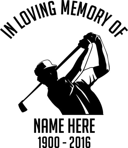 In Loving Memory Golfer Car Window Windshield Lettering Decal Sticker Decals Stickers