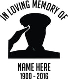 In Loving Memory Military Car Window Windshield Lettering Decal Sticker Decals Stickers