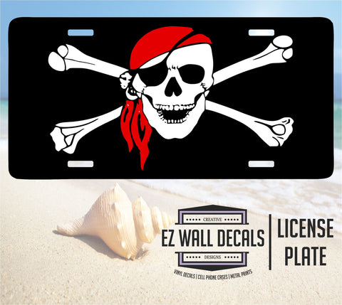 Pirate Flag Aluminum License Plate