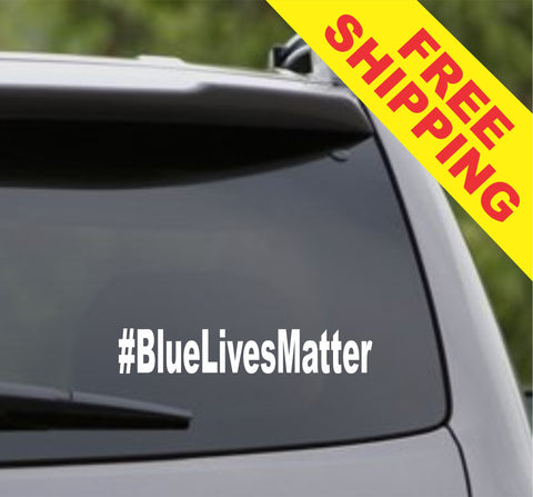 Blue Lives Matter Hashtag # Car Window Windshield Lettering Decal Sticker Decals Stickers Police Cop Cops Policeman - ezwalldecals  - vinyl decal - vinyl sticker - decals - stickers - wall decal - jdm decal - vinyl stickers - vinyl decals - 1
