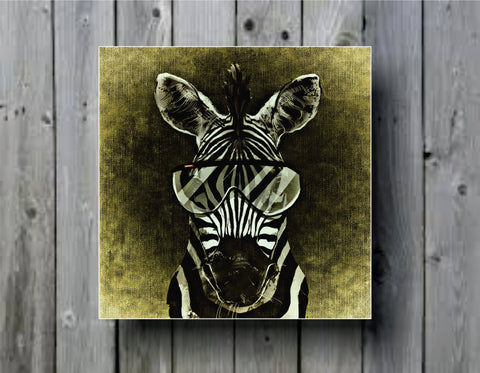 Abstract Zebra with Glasses Art Background Photo Panel - Durable Finish - High Definition - High Gloss