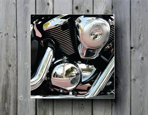 Motorcycle Engine Close Up Art Background Photo Panel - Durable Finish - High Definition - High Gloss