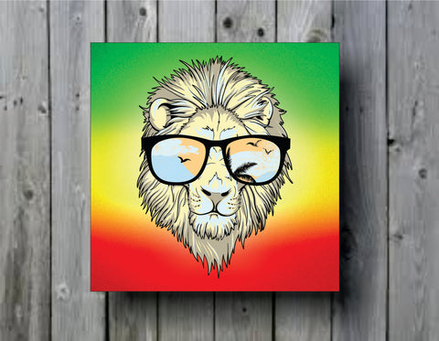 Rasta Lion With Glasses Version 101 Reggae Art Background Photo Panel - Durable Finish - High Definition - High Gloss