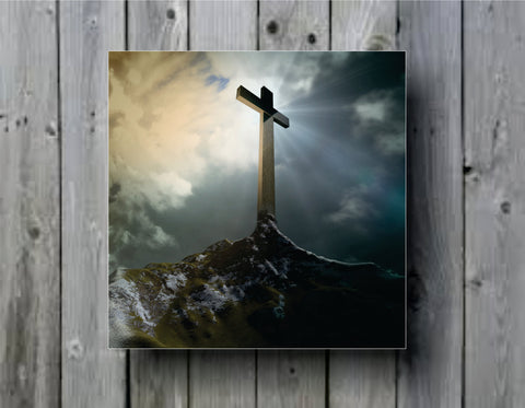 Cross on Mountain Religious Art Background Photo Panel - Durable Finish - High Definition - High Gloss