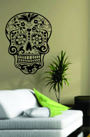 Sugarskull Wall Vinyl Decal Sticker Sugar Skull - ezwalldecals  - vinyl decal - vinyl sticker - decals - stickers - wall decal - jdm decal - vinyl stickers - vinyl decals