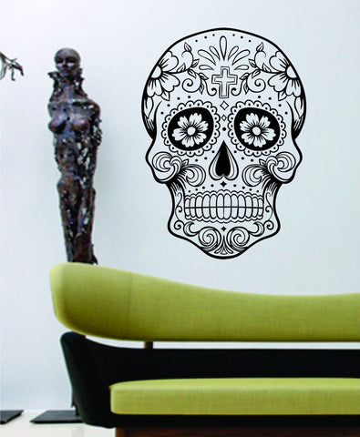 Sugarskull Version 5 Wall Vinyl Decal Sticker Sugar Skull - ezwalldecals  - vinyl decal - vinyl sticker - decals - stickers - wall decal - jdm decal - vinyl stickers - vinyl decals - 1