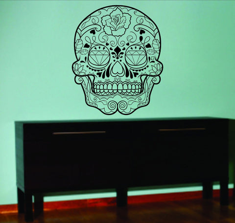 Extra Large Version 4 Sugarskull Wall Vinyl Decal Sugar Skull - ezwalldecals  - vinyl decal - vinyl sticker - decals - stickers - wall decal - jdm decal - vinyl stickers - vinyl decals - 1