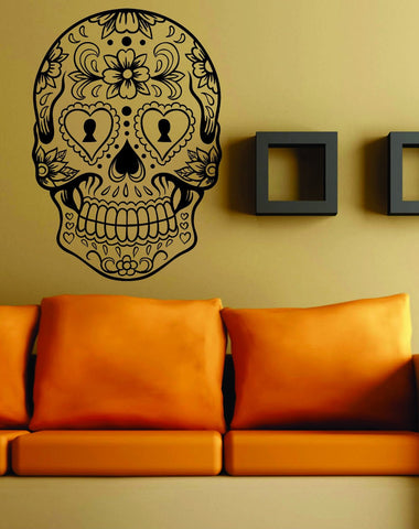 Extra Large Version 6 Sugarskull Wall Vinyl Decal Sugar Skull - ezwalldecals  - vinyl decal - vinyl sticker - decals - stickers - wall decal - jdm decal - vinyl stickers - vinyl decals - 1