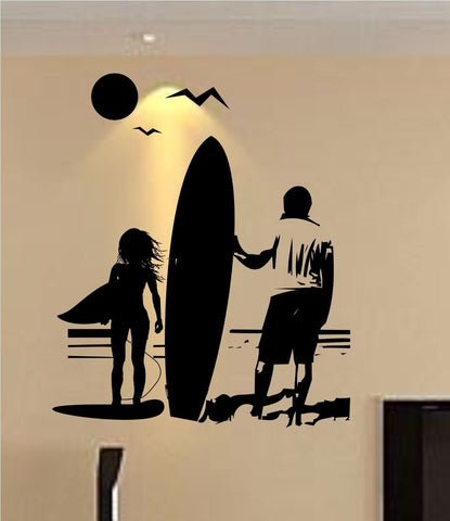 Girl and Dad with Surfboard Staring Into Ocean Sticker Wall Decal Sticker - ezwalldecals  - vinyl decal - vinyl sticker - decals - stickers - wall decal - jdm decal - vinyl stickers - vinyl decals - 1