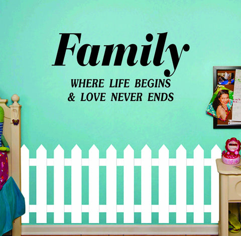 Family Where Life Begins Quote Decal Sticker Wall - ezwalldecals  - vinyl decal - vinyl sticker - decals - stickers - wall decal - jdm decal - vinyl stickers - vinyl decals - 1