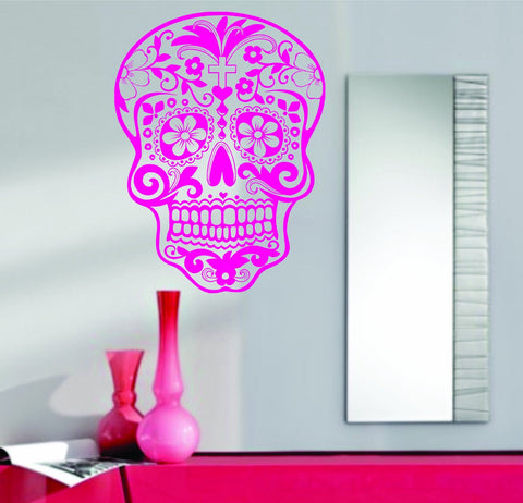 Extra Large Pink Sugarskull Wall Vinyl Decal Sticker  Sticker Sugar Skull - ezwalldecals  - vinyl decal - vinyl sticker - decals - stickers - wall decal - jdm decal - vinyl stickers - vinyl decals - 1