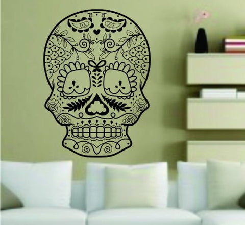 Extra Large Version 3 Sugarskull Wall Vinyl Decal  Sugar Skull - ezwalldecals  - vinyl decal - vinyl sticker - decals - stickers - wall decal - jdm decal - vinyl stickers - vinyl decals - 1