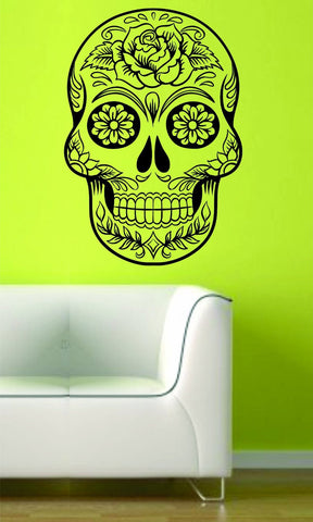 Extra Large Version 7 Sugarskull Wall Vinyl Decal Sugar Skull - ezwalldecals  - vinyl decal - vinyl sticker - decals - stickers - wall decal - jdm decal - vinyl stickers - vinyl decals - 1