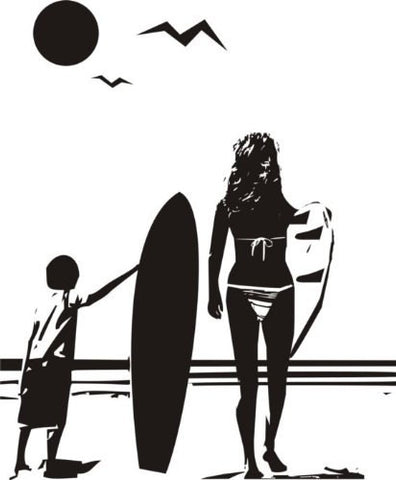 Boy and Mom with Surfboard Staring Into Ocean Sticker Wall Decal Sticker - ezwalldecals  - vinyl decal - vinyl sticker - decals - stickers - wall decal - jdm decal - vinyl stickers - vinyl decals - 1