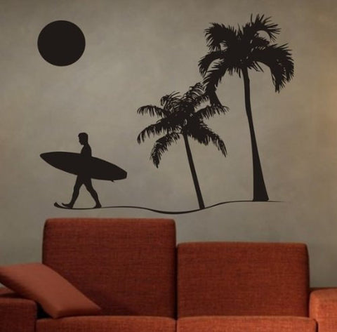 Surfer and Beach Scene Sticker Wall Decal Sticker - ezwalldecals vinyl decal - vinyl sticker - decals - stickers - wall decal - jdm decal - vinyl stickers - vinyl decals - 1