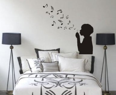 Boy Blowing Music Notes Wall Mural Decal Sticker Music - ezwalldecals  - vinyl decal - vinyl sticker - decals - stickers - wall decal - jdm decal - vinyl stickers - vinyl decals - 1