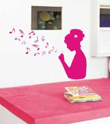 Girl Blowing Music Notes Wall Mural Decal Sticker Music - ezwalldecals  - vinyl decal - vinyl sticker - decals - stickers - wall decal - jdm decal - vinyl stickers - vinyl decals - 1