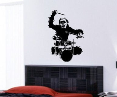 Monkey Drummer Wall Mural Decal Sticker Music - ezwalldecals  - vinyl decal - vinyl sticker - decals - stickers - wall decal - jdm decal - vinyl stickers - vinyl decals - 1