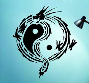 Tribal Yin Yang Dragon Version 3 Decal Sticker Wall Art Graphic - ezwalldecals  - vinyl decal - vinyl sticker - decals - stickers - wall decal - jdm decal - vinyl stickers - vinyl decals - 1