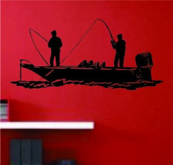 Bass Fishermen on a Boat Decal Decal Sticker Wall - ezwalldecals  - vinyl decal - vinyl sticker - decals - stickers - wall decal - jdm decal - vinyl stickers - vinyl decals - 1