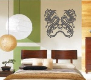 Twin Tribal Dragons Dragon Decal Sticker Wall Art Graphic - ezwalldecals vinyl decal - vinyl sticker - decals - stickers - wall decal - jdm decal - vinyl stickers - vinyl decals - 1