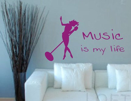 Music Is My Life  Wall Decal Sticker - ezwalldecals  - vinyl decal - vinyl sticker - decals - stickers - wall decal - jdm decal - vinyl stickers - vinyl decals - 1