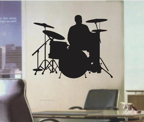 Drummer Wall Decal Wall Mural Decal Sticker Music - ezwalldecals  - vinyl decal - vinyl sticker - decals - stickers - wall decal - jdm decal - vinyl stickers - vinyl decals - 1