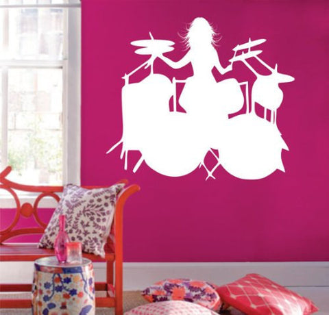 Girl Drummer Wall Decal Wall Mural Decal Sticker Music - ezwalldecals  - vinyl decal - vinyl sticker - decals - stickers - wall decal - jdm decal - vinyl stickers - vinyl decals - 1
