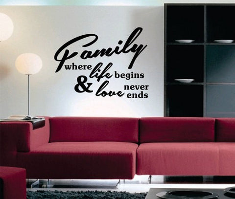 Family Where Life Begins Version 101 Quote Decal Sticker Wall - ezwalldecals  - vinyl decal - vinyl sticker - decals - stickers - wall decal - jdm decal - vinyl stickers - vinyl decals - 1