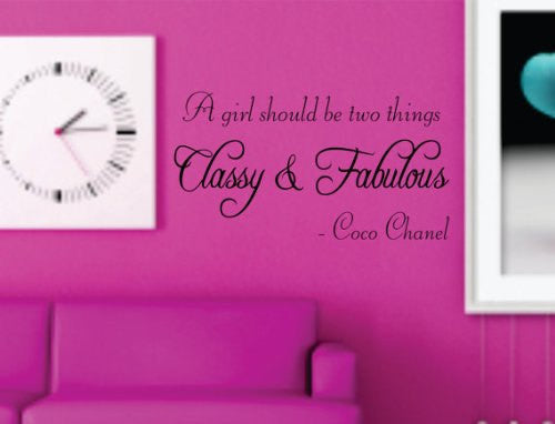 A Girl Should Be Two Things - Coco Chanel Quote Decal Sticker Wall - ezwalldecals  - vinyl decal - vinyl sticker - decals - stickers - wall decal - jdm decal - vinyl stickers - vinyl decals - 1
