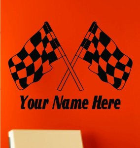 Custom Racing Flags with Name Decal Sticker Wall Art Graphic Race Room Kid Nursery Race Motorcycle - ezwalldecals  - vinyl decal - vinyl sticker - decals - stickers - wall decal - jdm decal - vinyl stickers - vinyl decals - 1