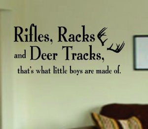 Rifles Racks and Deer Tracks Decal Sticker Wall Boy Girl Teen Child - ezwalldecals  - vinyl decal - vinyl sticker - decals - stickers - wall decal - jdm decal - vinyl stickers - vinyl decals - 1