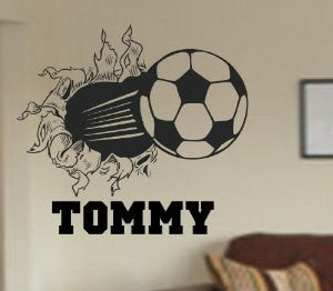 Soccer Ball Bursting Through Wall Vinyl Wall Decal Sticker Art Sports Kid Children Ball Nursery Boy Teen - ezwalldecals  - vinyl decal - vinyl sticker - decals - stickers - wall decal - jdm decal - vinyl stickers - vinyl decals - 1