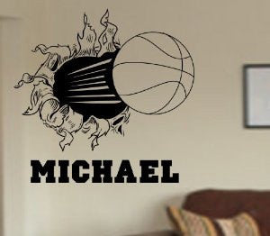 Basketball Bursting Through Wall Vinyl Wall Decal Sticker Art Sports Kid Children Ball Nursery Boy Teen Teen  Ball Nursery Boy Teen - ezwalldecals  - vinyl decal - vinyl sticker - decals - stickers - wall decal - jdm decal - vinyl stickers - vinyl decals - 1