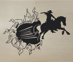 Cowboy Bursting Through Wall Vinyl Wall Decal Sticker Art Kid Children Ball Nursery Boy Teen - ezwalldecals  - vinyl decal - vinyl sticker - decals - stickers - wall decal - jdm decal - vinyl stickers - vinyl decals - 1