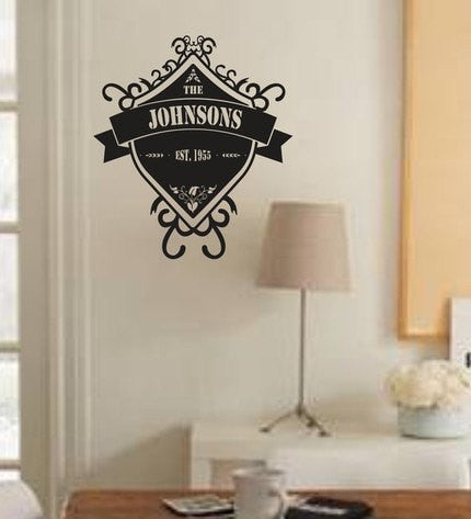 Custom Family Name Shield Decal Sticker Monogram Wall Mural - ezwalldecals vinyl decal - vinyl sticker - decals - stickers - wall decal - jdm decal - vinyl stickers - vinyl decals - 1