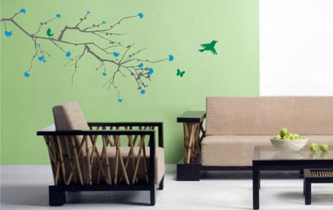 Big Cherry Blossom Branch with Birds Sticker Wall Decal Elegant Nature Tree - ezwalldecals  - vinyl decal - vinyl sticker - decals - stickers - wall decal - jdm decal - vinyl stickers - vinyl decals - 1