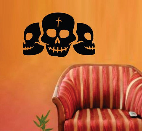 Triple Skulls Halloween Wall Vinyl Decal Sticker Art Graphic Sticker - ezwalldecals vinyl decal - vinyl sticker - decals - stickers - wall decal - jdm decal - vinyl stickers - vinyl decals - 1