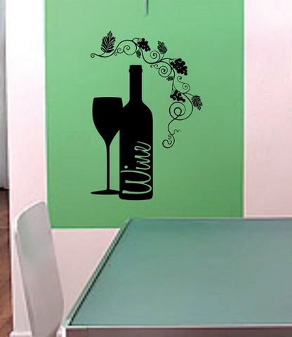Wine Glass and Wine Bottle Wall Decal Sticker Kitchen Room Decor Dining Room Grapevine - ezwalldecals vinyl decal - vinyl sticker - decals - stickers - wall decal - jdm decal - vinyl stickers - vinyl decals - 1