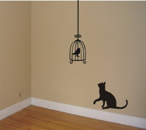 Cat Staring At Birdcage Wall Decal Sticker Wall Cats Birds Graphic Art - ezwalldecals vinyl decal - vinyl sticker - decals - stickers - wall decal - jdm decal - vinyl stickers - vinyl decals - 1