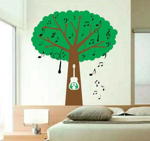 Musical Tree with Guitar Handle Branches - Music Notes - Microphone and Owl Kids Baby Wall Vinyl Decal BIG BIG BIG art graphic - ezwalldecals  - vinyl decal - vinyl sticker - decals - stickers - wall decal - jdm decal - vinyl stickers - vinyl decals - 1