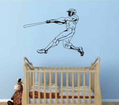 Baseball Player Version 106 Wall Vinyl Wall Decal Sticker Art Sports Kid Children Ball Nursery Boy Teen Homerun - ezwalldecals  - vinyl decal - vinyl sticker - decals - stickers - wall decal - jdm decal - vinyl stickers - vinyl decals - 1