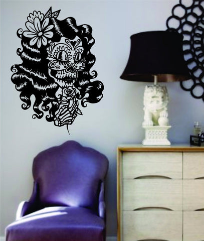Girl Dia De Los Muertos Skull Wall Vinyl Decal Sticker Art Graphic Sticker Sugar Skull Sugarskull - ezwalldecals  - vinyl decal - vinyl sticker - decals - stickers - wall decal - jdm decal - vinyl stickers - vinyl decals - 1