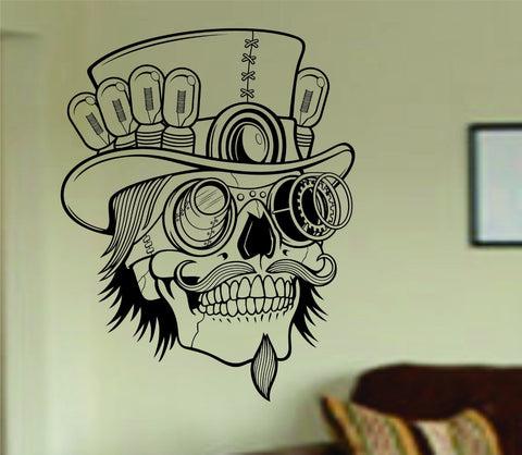 Steampunk Skull Wall Vinyl Decal Sticker Art Graphic Sticker Sugar Skull Sugarskull - ezwalldecals  - vinyl decal - vinyl sticker - decals - stickers - wall decal - jdm decal - vinyl stickers - vinyl decals - 1