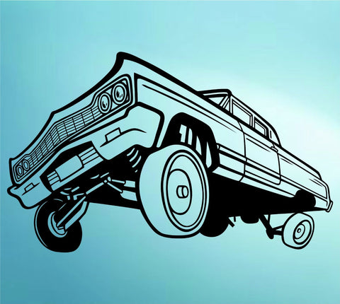 Lowrider Car with Hydraulics Decal Sticker Wall Mural Art Graphic Cars - ezwalldecals  - vinyl decal - vinyl sticker - decals - stickers - wall decal - jdm decal - vinyl stickers - vinyl decals - 1