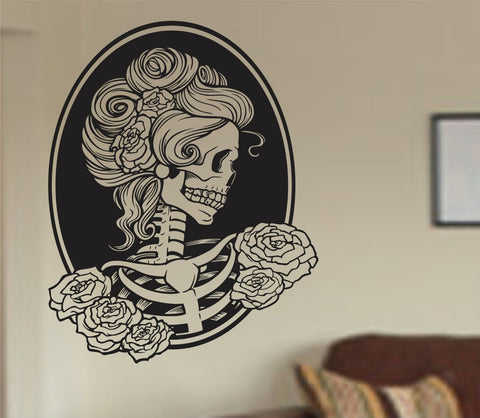 Extra Large Victorian Woman Skull Wall Vinyl Decal Sticker Art Graphic Sticker Sugar Skull Sugarskull - ezwalldecals  - vinyl decal - vinyl sticker - decals - stickers - wall decal - jdm decal - vinyl stickers - vinyl decals - 1