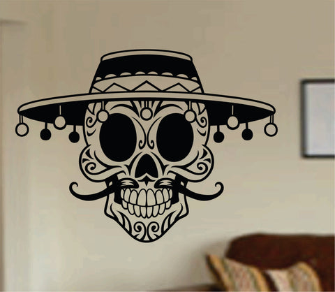 Mustache Day Of The Dead Skull Wall Vinyl Decal Sticker Art Graphic Sticker Sugar Skull Sugarskull - ezwalldecals  - vinyl decal - vinyl sticker - decals - stickers - wall decal - jdm decal - vinyl stickers - vinyl decals - 1