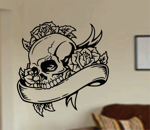 Tattoo Skull with Banner Wall Vinyl Decal Sticker Art Graphic Sticker Sugar Skull Sugarskull Tattooed - ezwalldecals  - vinyl decal - vinyl sticker - decals - stickers - wall decal - jdm decal - vinyl stickers - vinyl decals - 1