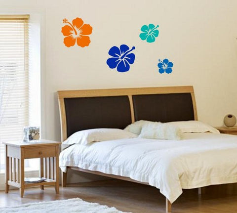 Set of 4 Hibiscus Flowers Decal Sticker Vinyl Wall Art Graphic Hawaii Hawaiian tiki - ezwalldecals  - vinyl decal - vinyl sticker - decals - stickers - wall decal - jdm decal - vinyl stickers - vinyl decals - 1